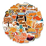 50 piezas de pegatinas naranjas pequeñas y frescas de grafiti, maleta con ruedas para equipaje, portátil, taza de agua, pegatinas impermeables