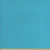 ABAKUHAUS Blau Gewebe als Meterware, Retro Polka Dots