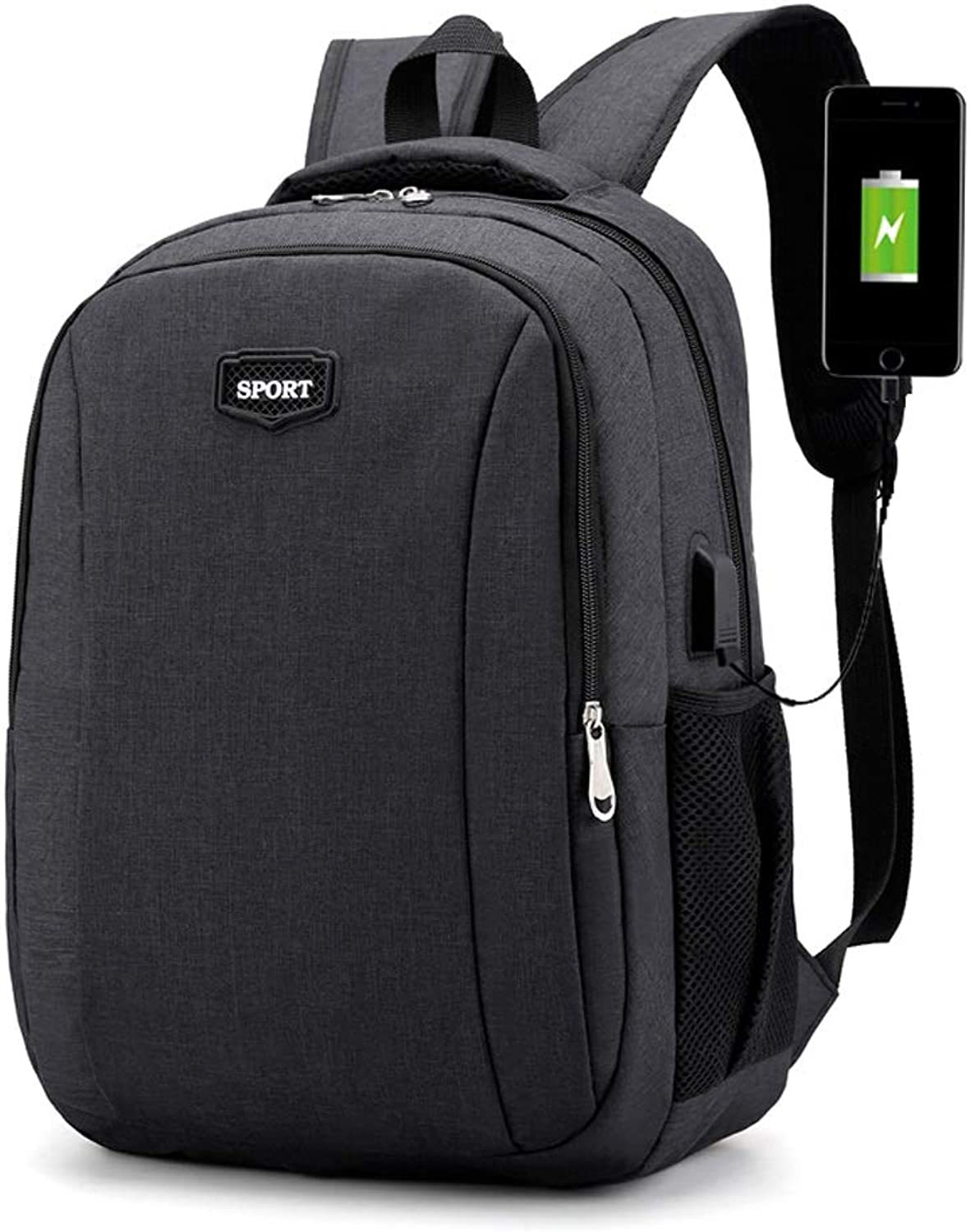 Multi-Function Laptop Bag Water-Repellent Backpack with USB Charging Interface Knapsack, Outdoor Travel Rucksack, Men's and Women's College Student Daypacks (color   Black, Size   29cm17cm44cm)