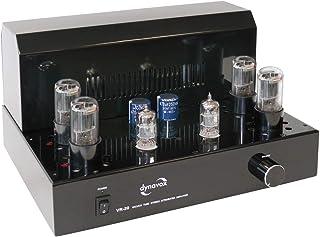 Dynavox Röhrenvollverstärker VR 20 schwarz, HiFi Verstärker für warmen Röhren Sound, Vintage Design mit abnehmbaren Schutzgitter
