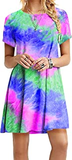 OMZIN - Vestido de mujer de manga corta, informal, de corte redondo, en tallas grandes, de 2XS a 5XL Zr-azul. XL
