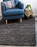 Unique Loom Solo Solid Shag Collection Modern Plush Graphite Gray Area Rug (4' 0 x 6' 0)