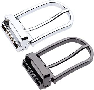 IPOTCH 2x Shiny Metal Rectangular Pin Bule Belt Roller Bule 1.1in Belt