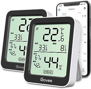 Govee Termometro Igrometro 2 Pezzi, Termoigrometro Interno Esterno Bluetooth Digitale con App, Ambiente Misuratore di umid...