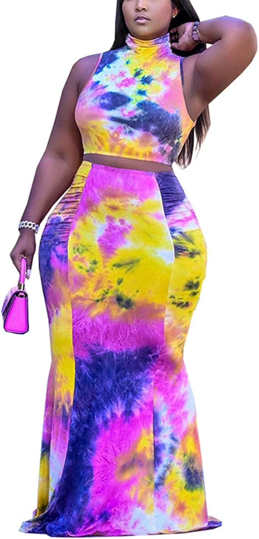 Tie Dye Skirt 2 Pieces Sets for Women High Collar Tank Crop Top + Pencil Skirt Suits