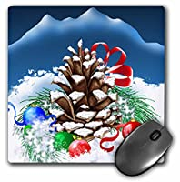 3drose LLC 8x 8x 0.25インチA Festive Christmas Pinecone with ornaments and prettyリボンin the冬雪マウスパッド( MP _ 11630_ 1)