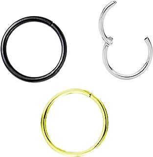 Drawer Props - Pack 3 Piercings Aros Clicker Nariz y Oreja 1mm X 8mm de Titanio - Colores Negro, Plata y Oro - Pendientes ...