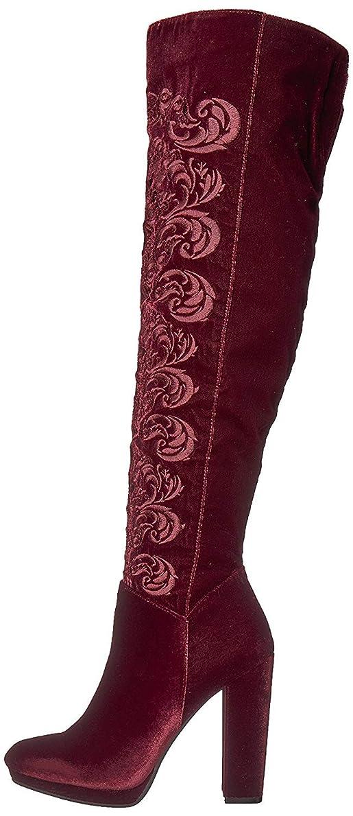 ユニークなプロポーショナル転倒[Jessica Simpson] Womens grizella Velvet Almond Toe Over Knee Fashion Boots [並行輸入品]