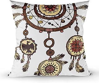 Ducan Lincoln Pillow Case 2PC 18X18,Fundas De Almohadas,Fundas De Almohadas De Tiro Cuadrado Tinta Dibujada A Mano Plumas De Atrapasueños Tribales Étnicas Símbolo Tradicional Americano Tema Tribal