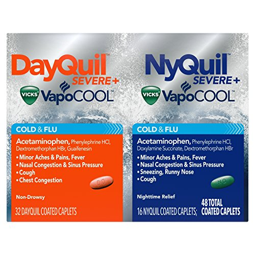 DayQuil and NyQuil SEVERE with Vicks VapoCOOL Cough, Cold & Flu Relief, 48 Caplets (32 DayQuil & 16 NyQuil) – Relieves Sore Throat, Fever, and Congestion, Day or Night