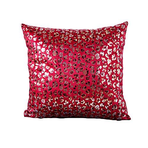 LAMEIDA Funda de Almohada de Cojín Funda de la Almohada Almohada de Oro Almohada de Punto de Leopardo Corto Felpa 45*45 Size 45 x 45 cm (Rojo)