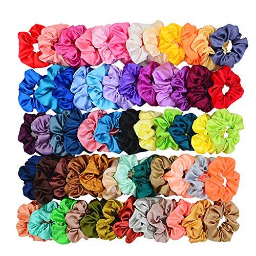 Simnice 60 Colors Silk Large Satin Hair Scrunchies Elastic Hair Bobbles Ponytail Holder Hair Scrunchy Vintage Hair Ties Accessories for Women Girls