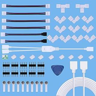 Kit de Conector de Tira de LED,Kits de Conectores de Tiras LED sin Soldadura para 4 Pines 10 mm 5050 RGB con Cable Divisor...