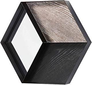 WYXIAN Mirror Wall-Mounted Bathroom High-Definition Makeup Storage Hexagon Iron Art Framed Simple (Color : Black, Size : 69X8X60CM)