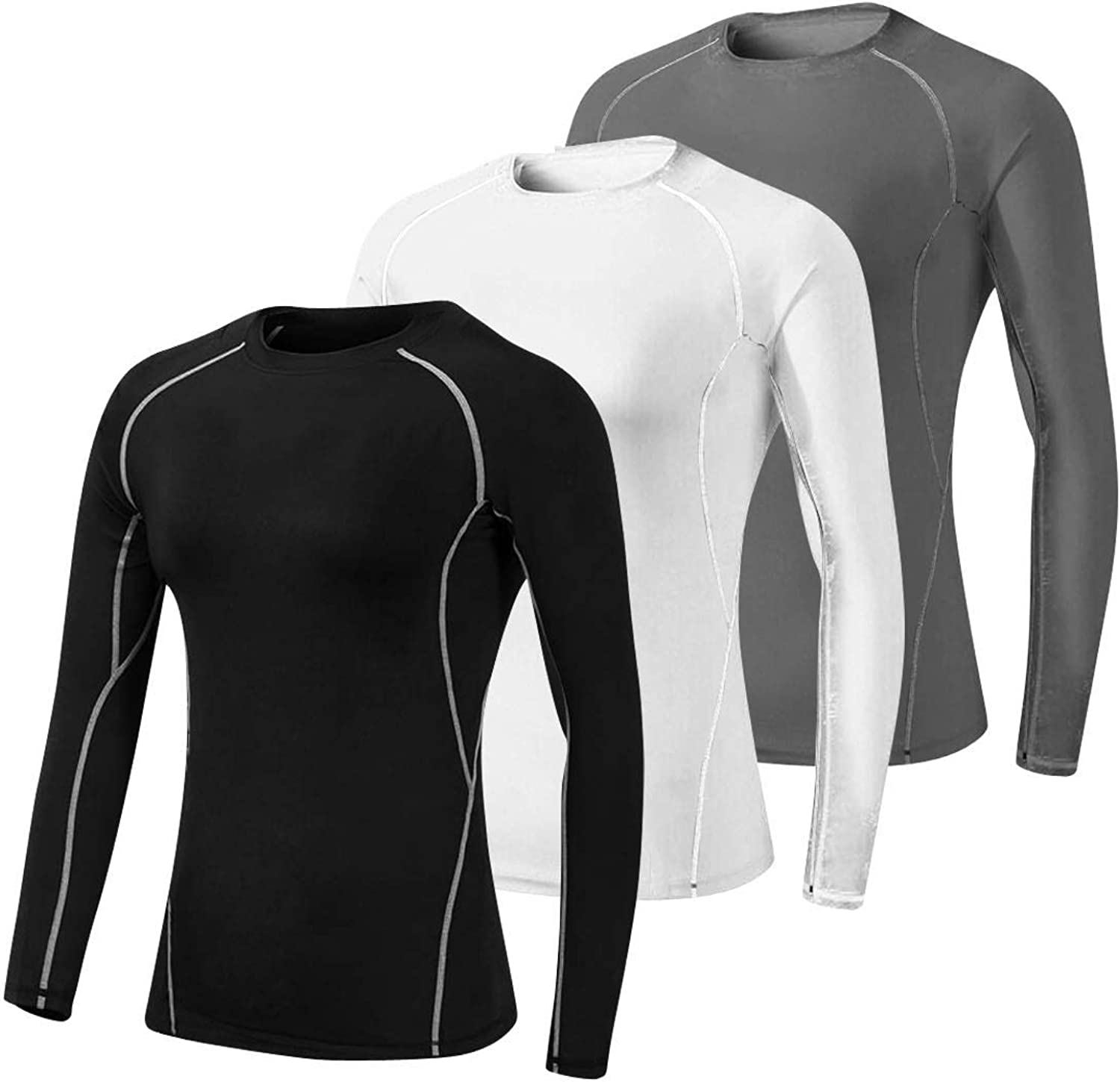 LNJLVI Women's 3 Pack Athletic Compression Long Sleeve T Shirt Tops