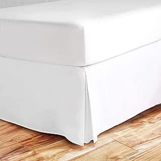 Queen Size Split Corner Bed Skirt 16'' Inch Drop - 100% Egyptian Cotton Luxurious & Hypoallergenic Easy to Wash Wrinkle, (White, Queen Size Bed Skirt with 16 inch drop)