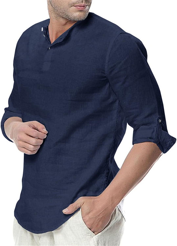 Gecau Mens Cotton Linen Henley Shirt - Long Sleeve Casual Button Up Beach Lightweight Solid Color Top Shirt