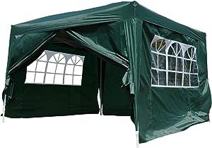 Outsunny Tonnelle Tente de réception Barnum Pop-up Pliant 3 x 3 x 2,55 m 4 parois Amovibles + Sac de Transport Vert