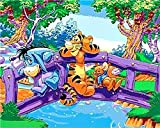 Paint by Number Kits Canvas DIY Oil Painting for Kids, Students, Adults Beginner with Brushes and Acrylic Pigment -Winnie The Pooh and Tigger and Pig Pijie Cartoon (21056, 16x20 with Frame)