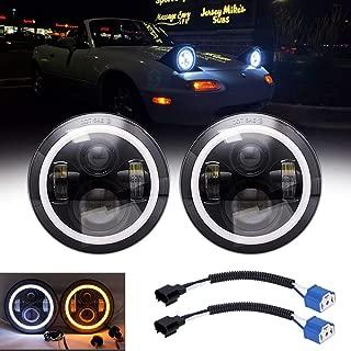 For 90-97 Mazda Miata MX5 MX-5 H6024 Pair Full LED Headlight Lights Halo Angel Eye White DRL Amber Turn Light with High Low Beam