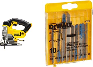 DEWALT DCS331N-XJ XR Lithium-Ion Jigsaw, 18V, 9.53cm x 9.45cm x 6.06cm, Yellow/Black & DT2292-QZ DT2292-QZ-Conjunto 10 hoj...