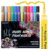 Reaeon Paint Pens for Rock Painting, Stone, Ceramic, Glass, Wood, Canvas, Acrylic Paint Markers Pen Medium Tip Set of 14 - DIY Craft Making Supplies