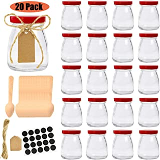 Folinstall 20 Pcs 4 oz Glass Jars with Red lids, Small Mason Jars - Spice Jars for Kitchen. Extra Tag Strings, Chalkboard Labels and 20 Disposable Wooden Spoons Included