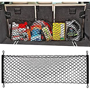 Adjustable Elastic Heavy Duty Cargo Net - Universal Stretchable Truck Net with Hooks | Organizer, Storage, Mesh, Nylon, Bungee | for Car, SUV, Truck, -Black:Amedama