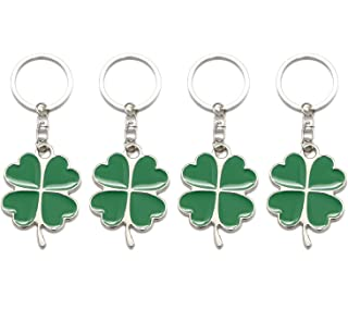 Monrocco 4 Pcs Green Color Lucky Keychain Four Leaf Clover Key Chain