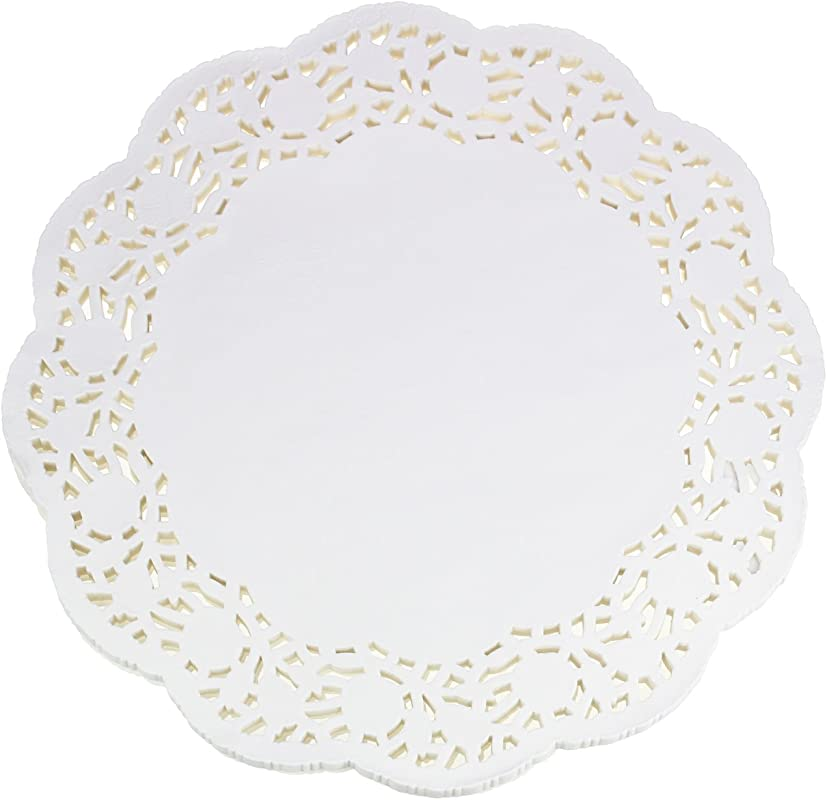 LJY 100 Pieces White Lace Round Paper Doilies Cake Packaging Pads Wedding Tableware Decoration 13 5 Inch