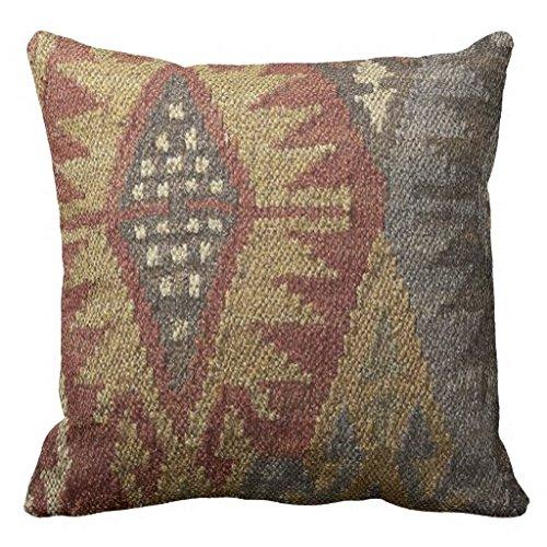 Kissen für Deko 18x 18Kelim Tapisserie Farbe Erdtöne Prints Überwurf Kissen für Couch quadratisch Kissen mit Reißverschluss Leinwand Kissenbezüge