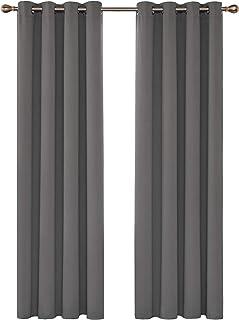 Deconovo Cortinas Salón Modernas Opacas para Ventanas de Resistente a la Luz Tela Suave y Gruesa con Ojales 2 Piezas 140 x 260 cm Gris Claro