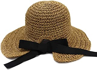 Summer hat Handmade Crochet Spring Summer Straw Hat Women Fold Outside Sunscreen Beach Hat Visor Big Hat hat (Color : Coffee, Size : 56-58CM)