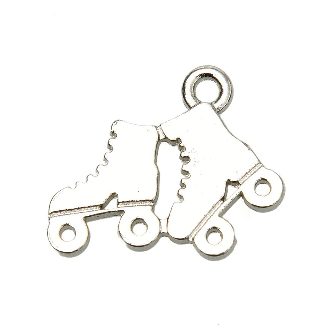 Monrocco 30 Pcs Antique Silver Alloy Metal Roller Skate Shoe Charm Pendant for Bracelets Jewelry Making npegpvywitn44