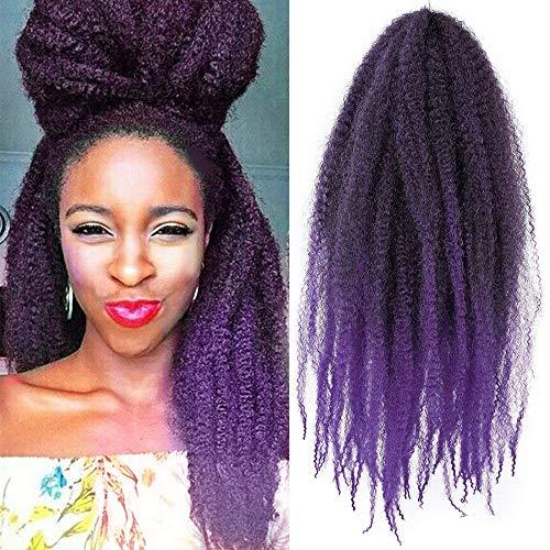 AISI BEAUTY Marley Braiding Hair Synthetic Afro Kinky Twist Crochet Hair Mixed Color Twist Crochet for Twists 3 Packs/Lot (18'' T1B/PURPLE#)