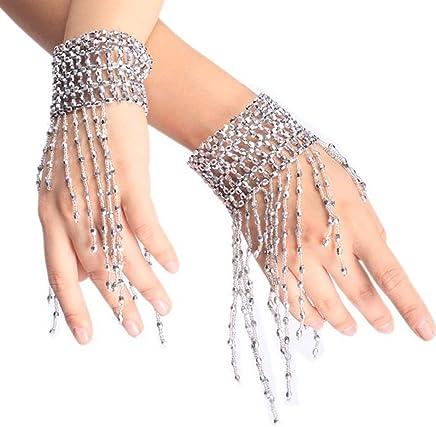 Ewandastore Belly Dance Tassel Wrist Ankle Arm Cuffs Bracelets Wristband Gypsy JewelryHalloween Costume Accessory(Silver)