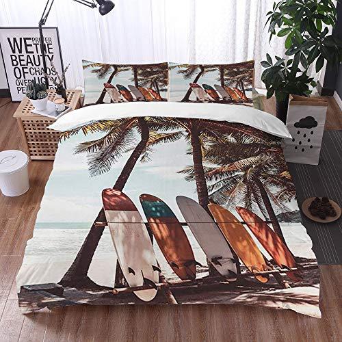 Mingdao Bedding Juego de Funda de Edredón -Tabla de Surf de Viaje y Palmera en la Playa,/Microfibra Funda de Nórdico (Cama 200 x 200 cm + Almohada 50X80 cm)
