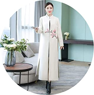 National Winter Luxury Flowers Embroidery Long Sleeve Cashmere Wool Blends Coat