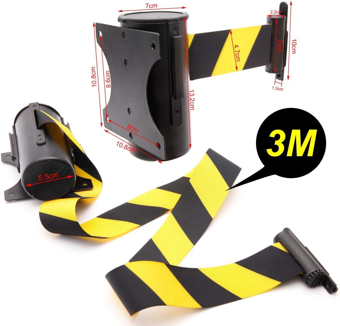 Anladia Sistema de gu/ía personal de 3 m con postes de bloqueo retr/áctiles color amarillo y negro