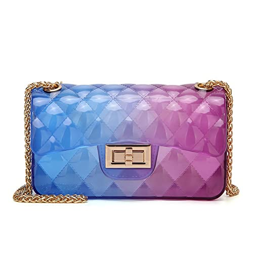 46f5264b9dd Women Transparent Jelly Messenger Bag Lady Gradient Candy Color Shoulder Purses  Mini Crossbody Bag with Chain