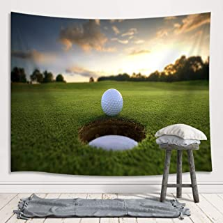 JAWO Golf Course Decor Tapestry, Golf Ball Parked at The Hole Farm House Sunset Tapestries Wall Hanging, Wall Tapestry for Dorm Living Room Bedroom, Wall Blanket Wall Decor Art Home Decoration