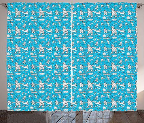 ABAKUHAUS Ski Pattern Gordijnen, Winter Doodle Snowboard, Woonkamer Slaapkamer Raamgordijnen 2-delige set, 280 x 225 cm, Sky Blue and White