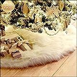 Guwheat Árbol de Navidad Faldas Blanco Árbol Adornos Felpa XmasTree Falda para la Decoración de Navidad Fiesta de Año Nuevo (Blanco 78 cm)