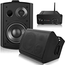 Pohopa 5.25 Inch Outdoor Speakers with Bluetooth Stereo Amplifier Receiver | All-Weather Durability | Broad Sound Coverage | Speed-Lock Mounting System (Black)