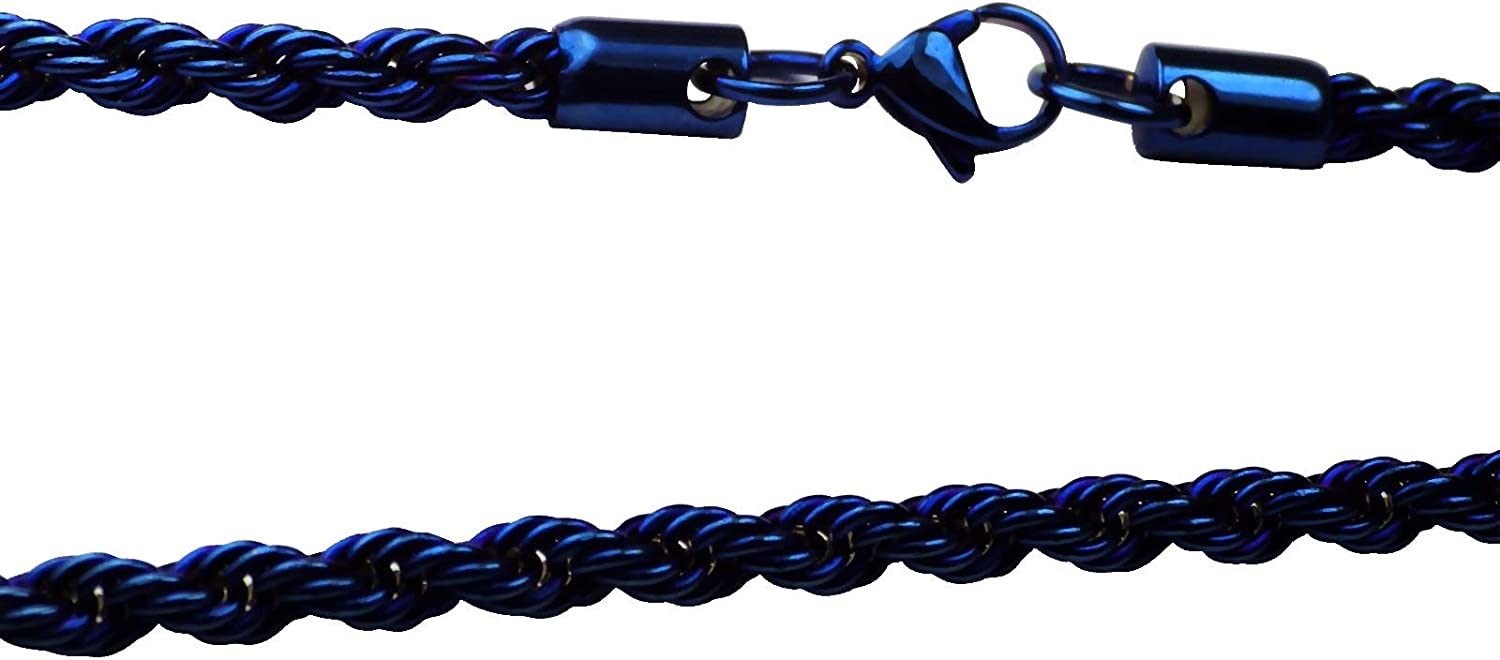 Fantasy Forge Jewelry Electric Blue Rope Chain Necklace Mens Womens Stainless Steel 4mm 20-30-inch