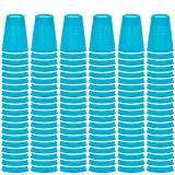 DecorRack Party Cups 12 oz Reusable Disposable Cups for Birthday Party Bachelorette Camping Indoor Outdoor Events Beverage Drinking Cups (Light Blue, 40)