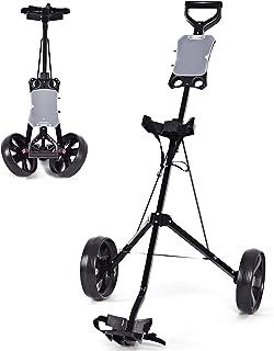 چرخ دستی برقی Tangkula Golf Golf Foldable 2 Wheel Push Pull Cart Trullley