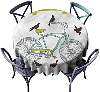 Polyester Round Tablecloth Bicycle,I Love My Bike Quote Heart Circular Table Cover Diameter 36