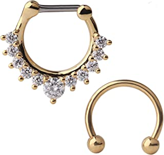 Ruifan 16G Horseshoe Circular Barbell and Nose Ear Daith Septum Clicker Ring with Clear CZ Gems 316L Surgical Steel 2-16PCS