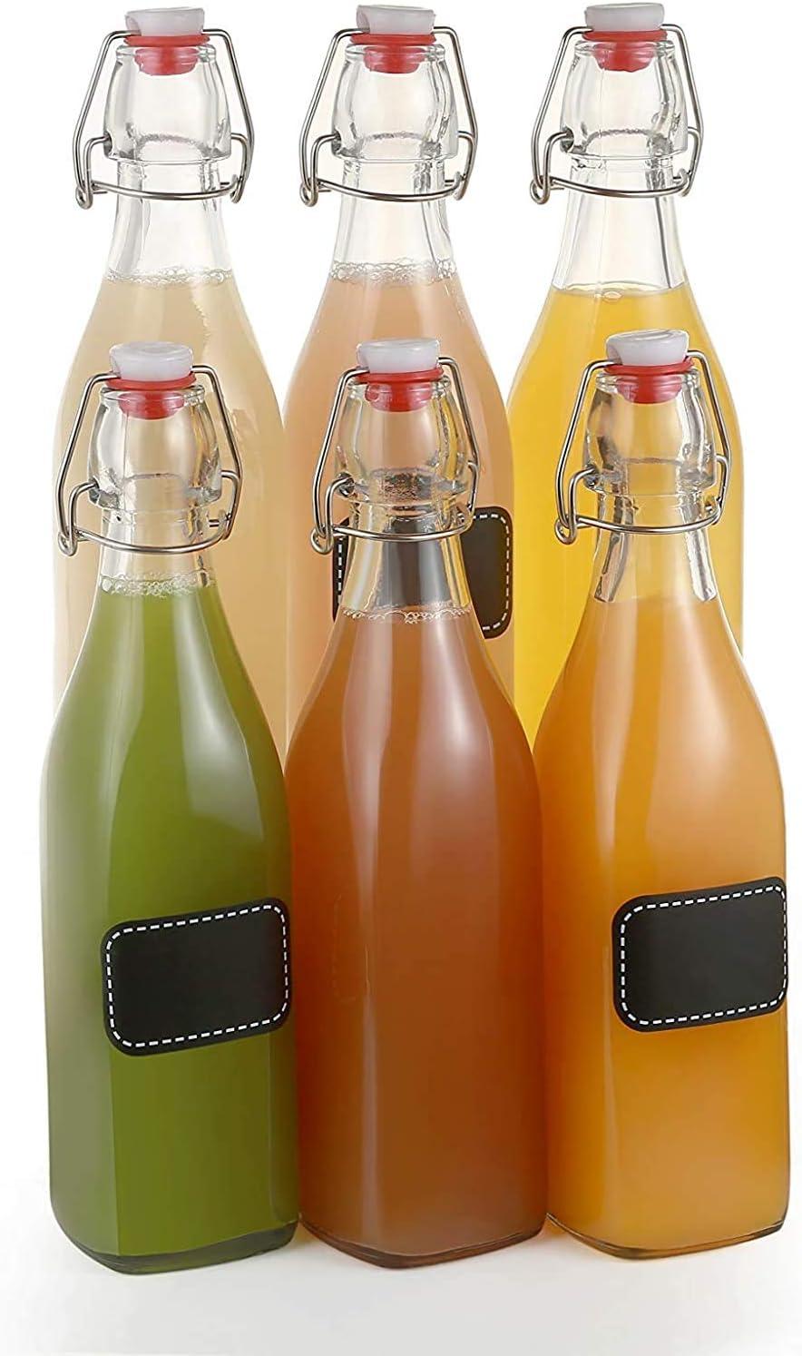 6 botellas de vidrio con tapón de columpio de 500ml cuadrados - 6 etiquetas con alfiler y 6 sellos adicionales